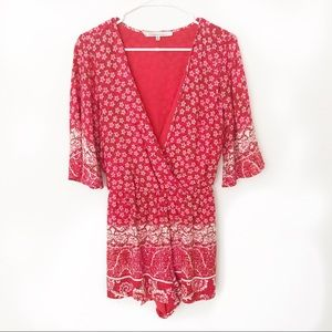 Lovers + Friends | Isabelle Romper in Red Scarf